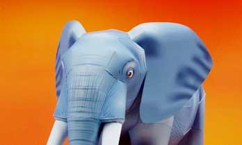 「アフリカゾウ」の無料の動物ペーパークラフト