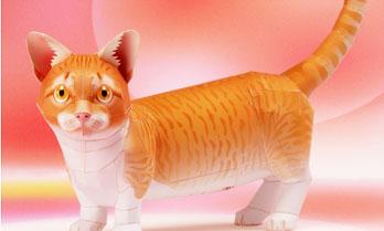 「マンチカン」猫のペーパークラフト(無料)