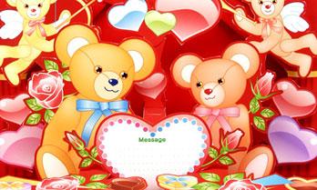 「バレンタイン」ポップアップカードのペーパークラフト(無料)
