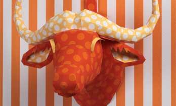 「ウォールオブジェ:アニマル 02 ドット(オレンジ)」のペーパークラフト(無料)