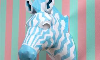 「ウォールオブジェ:アニマル 03 ゼブラ(ブルー)」のペーパークラフト(無料)