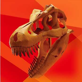 「恐竜・頭部の化石」のティラノサウルス、ペーパークラフト