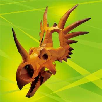 「恐竜・頭部の化石」のスティラコサウルス、ペーパークラフト