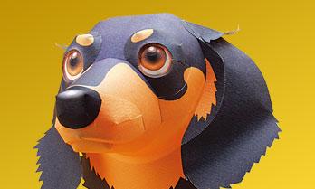 スマイルドッグ・ミニチュアダックスフント、犬のペーパークラフト