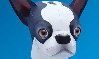 スマイルドッグ・ボストンテリア、犬のペーパークラフト