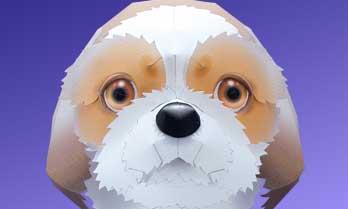 スマイルドッグ・シーズー、犬のペーパークラフト