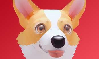スマイルドッグ・ウェルシュコーギー犬のペーパークラフト