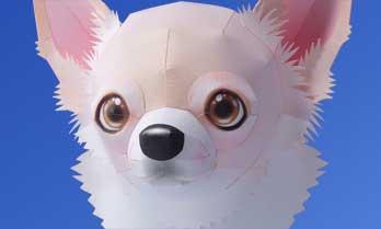 スマイルドッグ・チワワ、犬のペーパークラフト