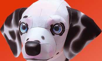 スマイルドッグ・ダルメシアン、犬のペーパークラフト