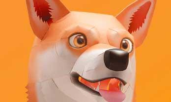 スマイルドッグ・柴犬、犬のペーパークラフト