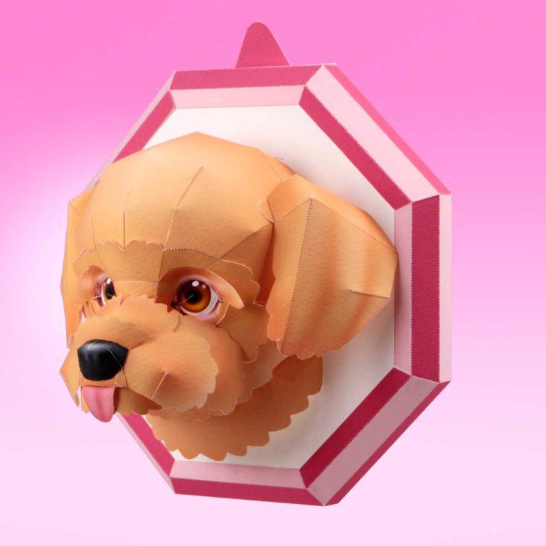 犬のペーパークラフト。「トイ・プードル」。笑顔になれる。スマイルドッグ「トイ・プードル」を作りましょう。