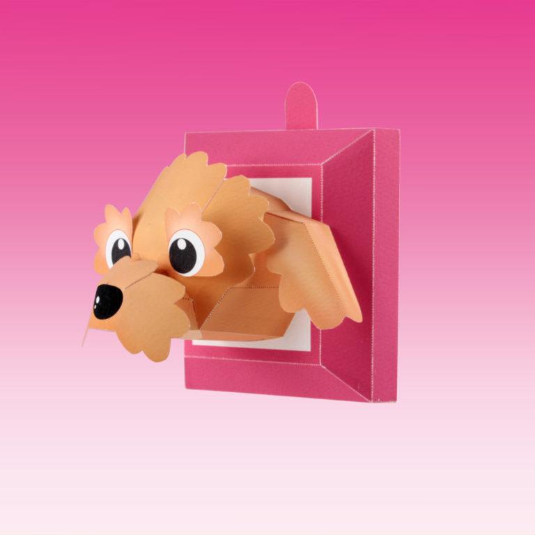 犬のペーパークラフト。「トイ・プードル」。笑顔になれる。スマイルドッグキュートの「トイ・プードル」を作りましょう。