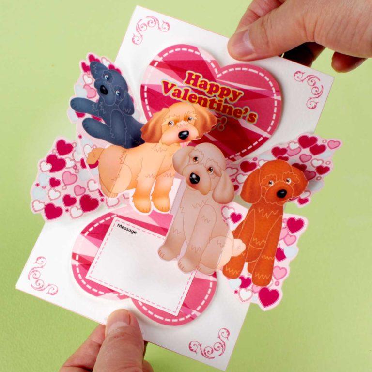 「バレンタイン」ポップアップカード。トイプードル編。楽しいペーパークラフトを作りましょう。