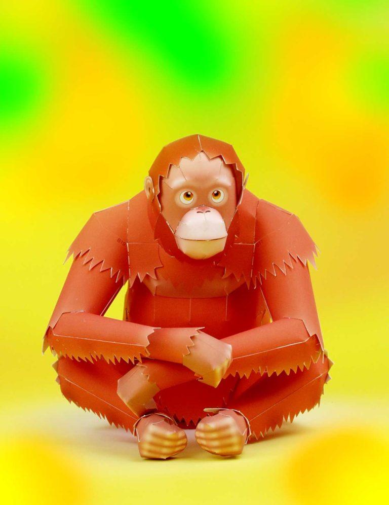 「オランウータン」の無料の動物ペーパークラフト