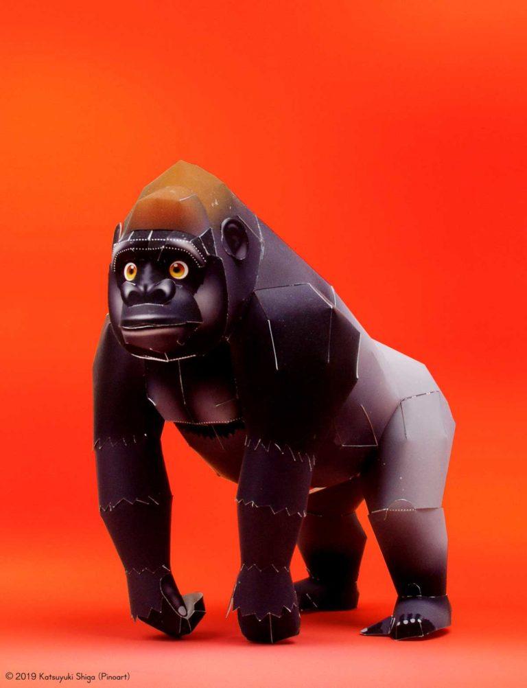 「マウンテンゴリラ」の無料の動物ペーパークラフト
