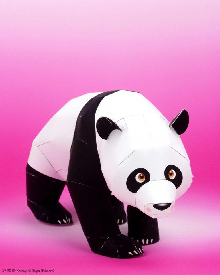 「パンダ」の無料の動物ペーパークラフト