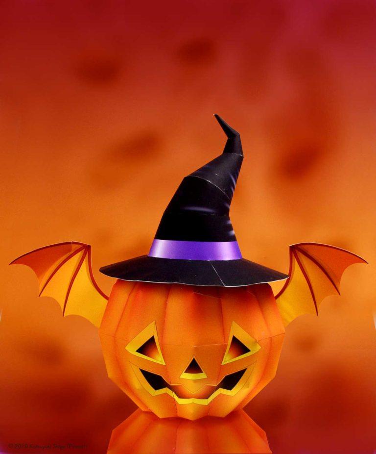 「ハロウィーン・かぼちゃのランタン」の無料のペーパークラフト