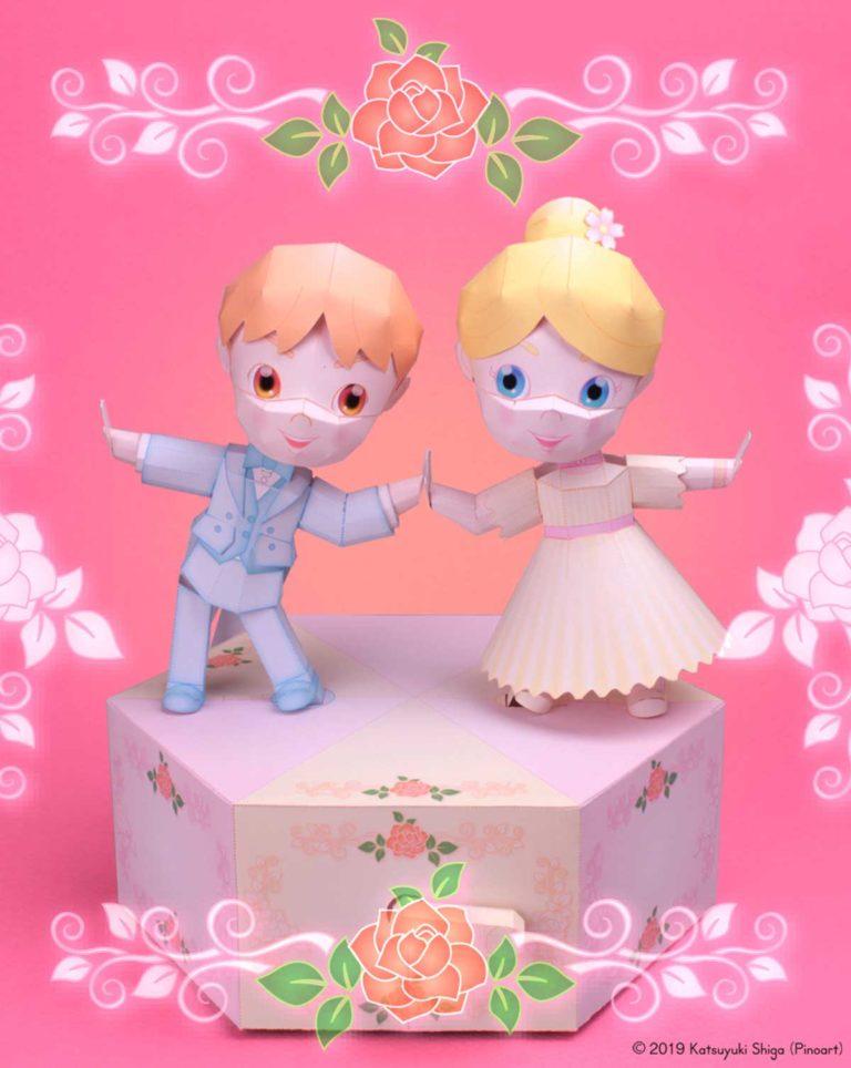 「ダンスドール」のからくりペーパークラフト(無料)