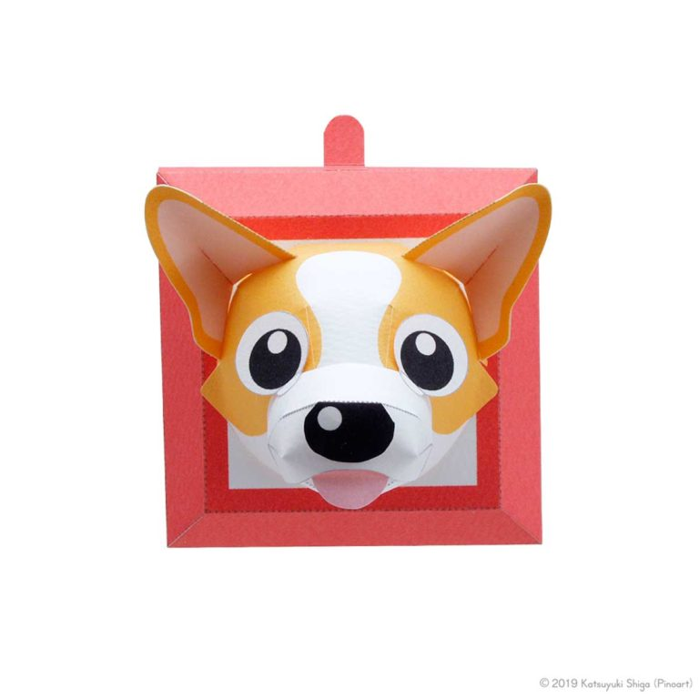 スマイルドッグリトル・ウェルシュコーギー犬のペーパークラフト