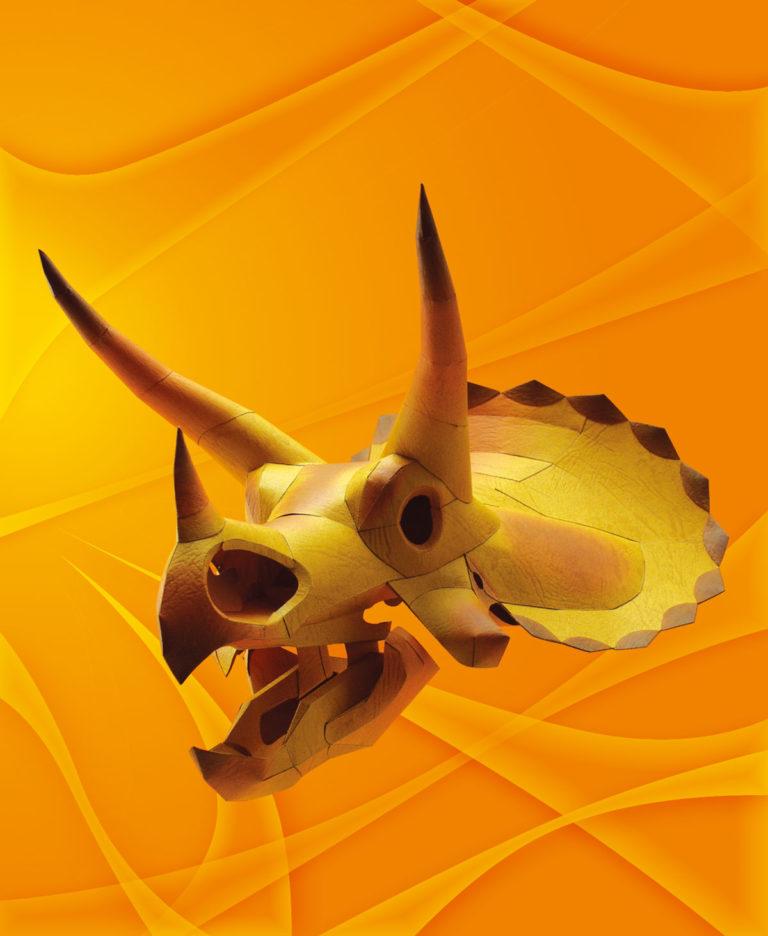 「恐竜・頭部の化石」のトリケラトプス、ペーパークラフト