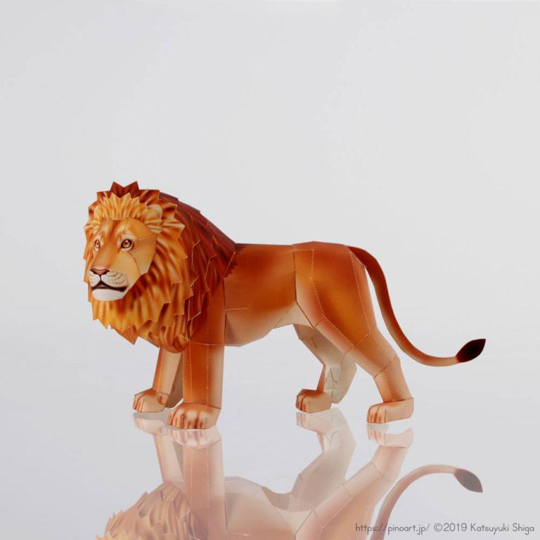 動物のペーパークラフト。力強い、オスライオンを作りましょう。