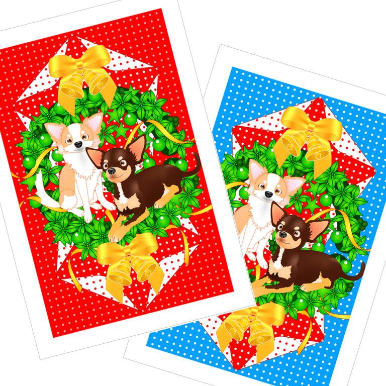 クリスマスのノベルティグッズ、ポストカード無料テンプレート03。「クリスマス飾り付けのアイテムDIY」「クリスマスカード」