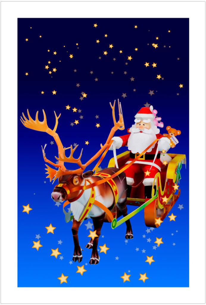 サンタクロースとトナカイのポストカード