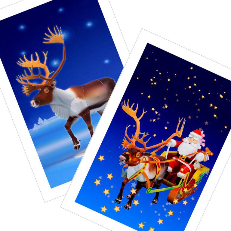 クリスマスのノベルティグッズ、ポストカード無料テンプレート04。「クリスマス飾り付けのアイテムDIY」「クリスマスカード」
