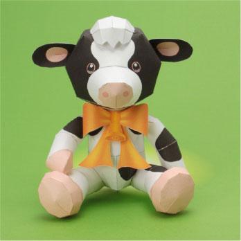 牛のぬいぐるみのペーパークラフト