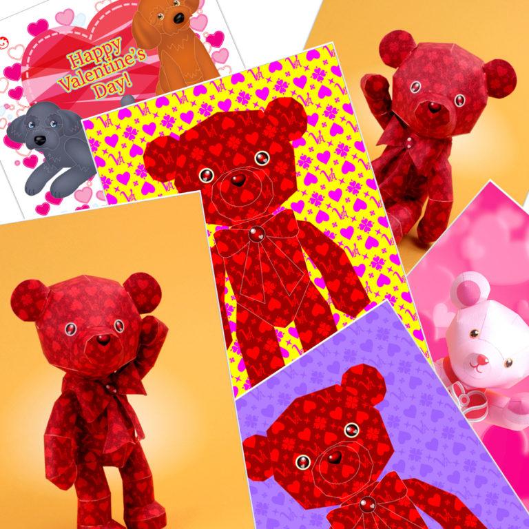 バレンタインデーのノベルティグッズ、ポストカード無料テンプレート。「バレンタインデーの飾り付けのアイテムDIY」「バレンタインデーのカード01」
